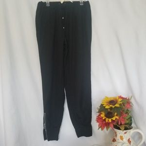 Black Elastic waist  Tapered Ankle Pants